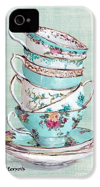 Stacked Aqua Themed Tea Cups IPhone 4 / 4s Case by Gail McCormack