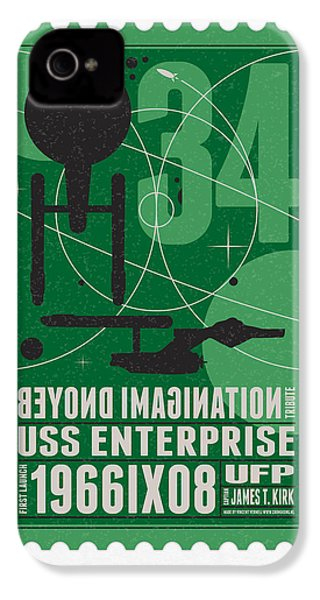 Starschips 34-poststamp - Uss Enterprise IPhone 4 / 4s Case by Chungkong Art