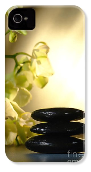 Stone Cairn And Orchids IPhone 4 / 4s Case by Olivier Le Queinec