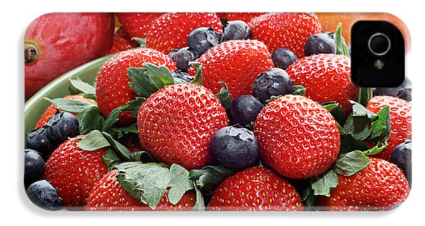 Strawberries Blueberries Mangoes - Fruit - Heart Health IPhone 4 / 4s Case by Andee Design
