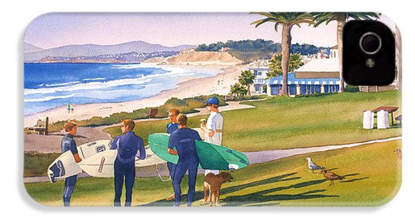 Surfers Gathering At Del Mar Beach IPhone 4 / 4s Case by Mary Helmreich