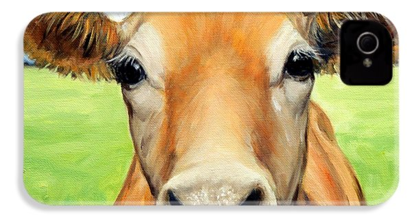 Sweet Jersey Cow In Green Grass IPhone 4 / 4s Case by Dottie Dracos