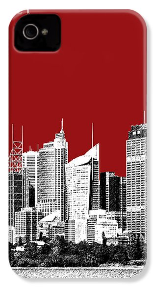 Sydney Skyline 1 - Dark Red IPhone 4 / 4s Case by DB Artist