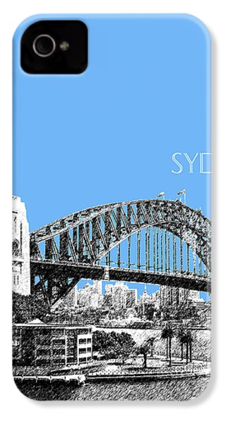 Sydney Skyline 2 Harbor Bridge - Light Blue IPhone 4 / 4s Case by DB Artist