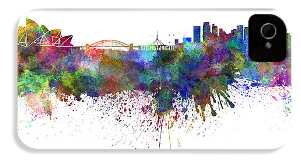 Sydney Skyline In Watercolor On White Background IPhone 4 / 4s Case by Pablo Romero