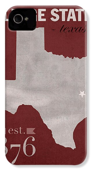 Texas A And M University Aggies College Station College Town State Map Poster Series No 106 IPhone 4 / 4s Case by Design Turnpike