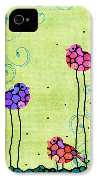 Three Birds - Spring Art By Sharon Cummings IPhone 4 / 4s Case by Sharon Cummings