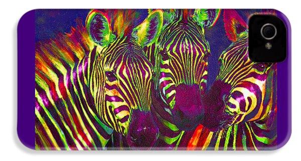 Three Rainbow Zebras IPhone 4 / 4s Case by Jane Schnetlage