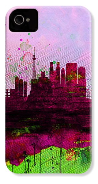 Tokyo Watercolor Skyline IPhone 4 / 4s Case by Naxart Studio