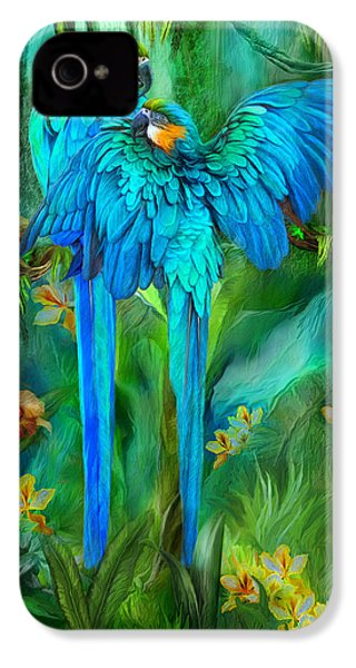 Tropic Spirits - Gold And Blue Macaws IPhone 4 / 4s Case by Carol Cavalaris