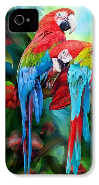 Tropic Spirits - Macaws IPhone 4 / 4s Case by Carol Cavalaris