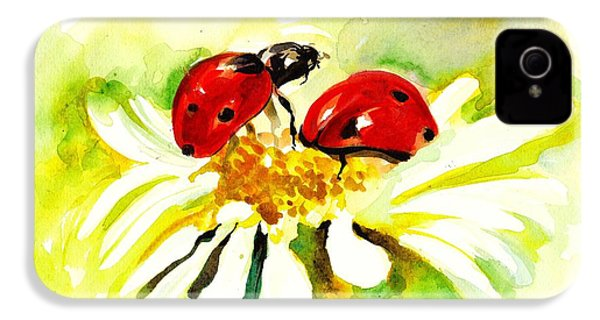 Two Ladybugs In Daisy After My Original Watercolor IPhone 4 / 4s Case by Tiberiu Soos