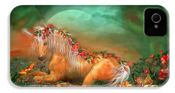 Unicorn Of The Roses IPhone 4 / 4s Case by Carol Cavalaris