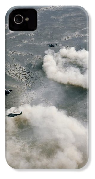Us Helicopters Landing In Afghanistan IPhone 4 / 4s Case by U.s. Marine Corps