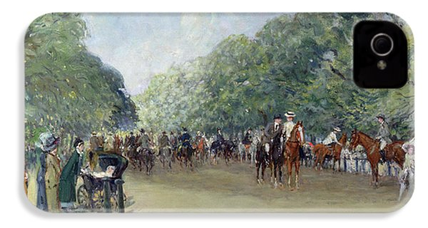 View Of Hyde Park With Figures On Rotten Row  IPhone 4 / 4s Case by Albert Jnr Ludovici