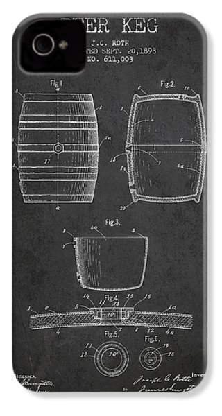 Vintage Beer Keg Patent Drawing From 1898 - Dark IPhone 4 / 4s Case by Aged Pixel