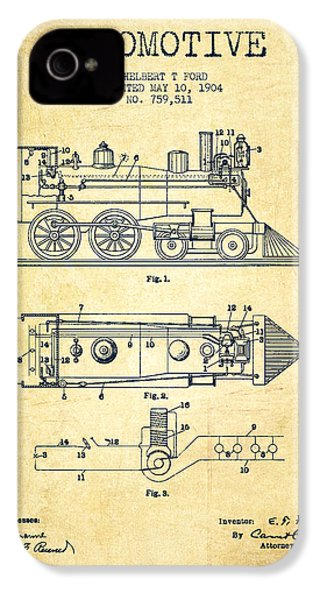 Vintage Locomotive Patent From 1904 - Vintage IPhone 4 / 4s Case by Aged Pixel