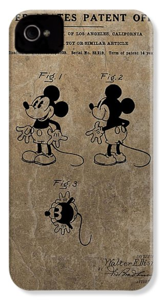 Vintage Mickey Mouse Patent IPhone 4 / 4s Case by Dan Sproul