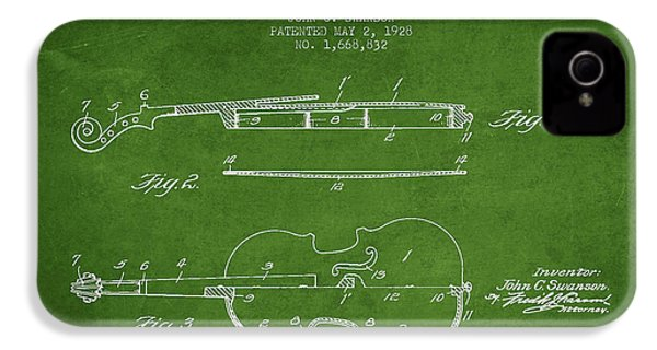 Violin Patent Drawing From 1928 IPhone 4 / 4s Case by Aged Pixel