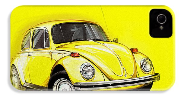 Volkswagen Beetle Vw Yellow IPhone 4 / 4s Case by Etienne Carignan