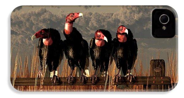Vultures On A Fence IPhone 4 / 4s Case by Daniel Eskridge