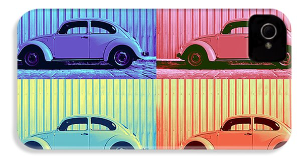 Vw Beetle Pop Art Quad IPhone 4 / 4s Case by Laura Fasulo