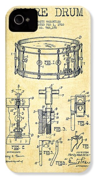 Waechtler Snare Drum Patent Drawing From 1910 - Vintage IPhone 4 / 4s Case by Aged Pixel