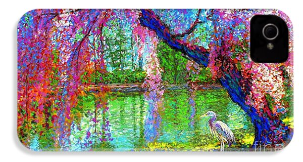 Weeping Beauty, Cherry Blossom Tree And Heron IPhone 4 / 4s Case by Jane Small