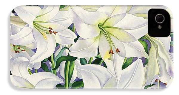 White Lilies IPhone 4 / 4s Case by Christopher Ryland