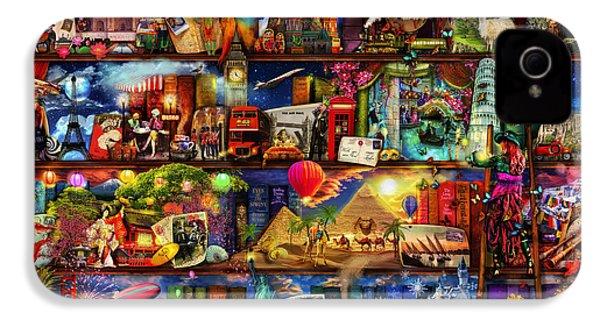 World Travel Book Shelf IPhone 4 / 4s Case by Aimee Stewart
