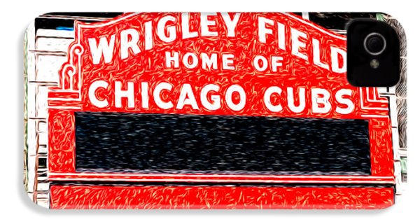 Wrigley Field Chicago Cubs Sign Digital Painting IPhone 4 / 4s Case by Paul Velgos