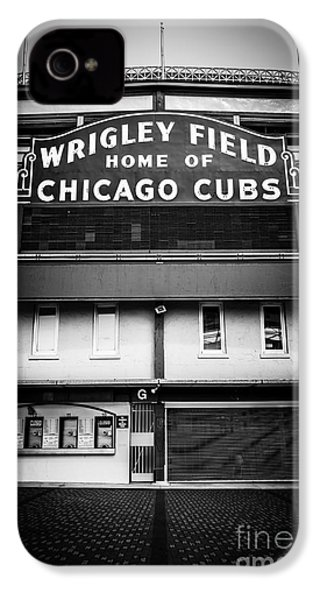Wrigley Field Chicago Cubs Sign In Black And White IPhone 4 / 4s Case by Paul Velgos