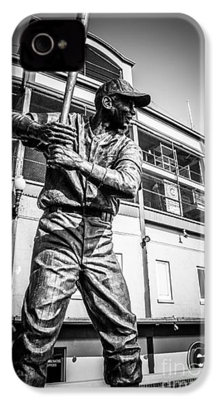 Wrigley Field Ernie Banks Statue In Black And White IPhone 4 / 4s Case by Paul Velgos