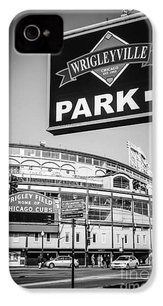 Wrigleyville Sign And Wrigley Field In Black And White IPhone 4 / 4s Case by Paul Velgos