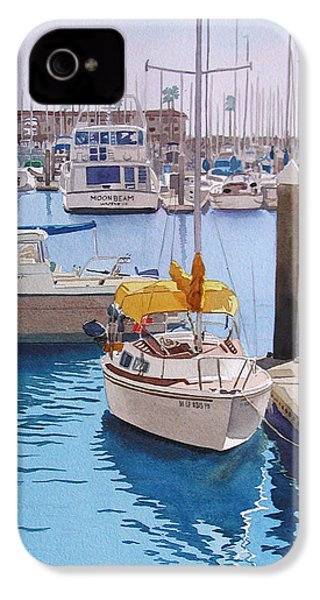 Yellow Sailboat Oceanside IPhone 4 / 4s Case by Mary Helmreich