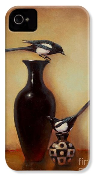 Yin Yang - Magpies  IPhone 4 / 4s Case by Lori  McNee