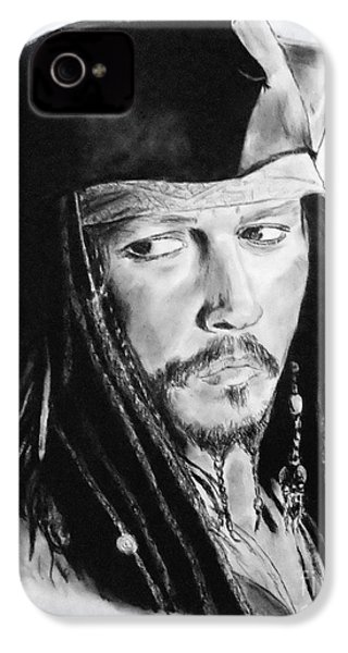Johnny Depp As Captain Jack Sparrow In Pirates Of The Caribbean II IPhone 4 / 4s Case by Jim Fitzpatrick