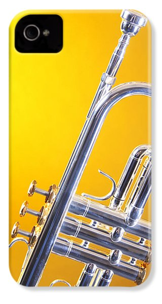 Silver Trumpet Isolated On Yellow IPhone 4 / 4s Case by M K  Miller