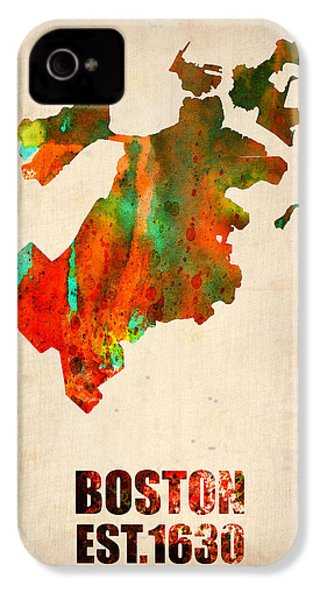 Boston Watercolor Map  IPhone 4 / 4s Case by Naxart Studio