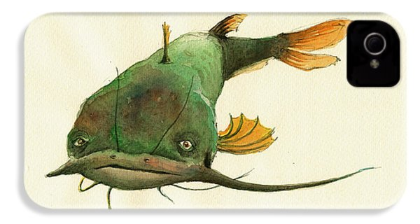 Channel Catfish Fish Animal Watercolor Painting IPhone 4 / 4s Case by Juan  Bosco