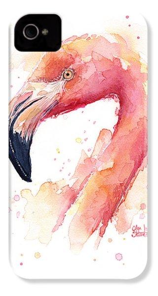 Flamingo Watercolor  IPhone 4 / 4s Case by Olga Shvartsur