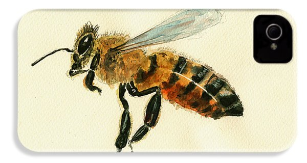 Honey Bee Watercolor Painting IPhone 4 / 4s Case by Juan  Bosco