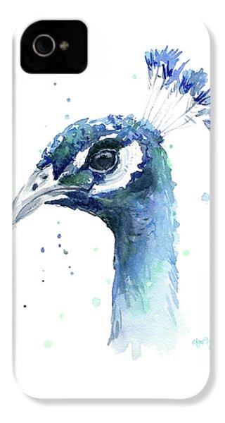 Peacock Watercolor IPhone 4 / 4s Case by Olga Shvartsur