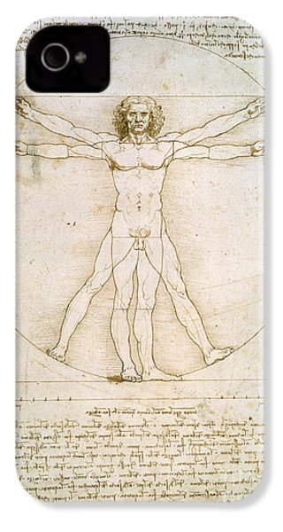 The Proportions Of The Human Figure IPhone 4 / 4s Case by Leonardo da Vinci