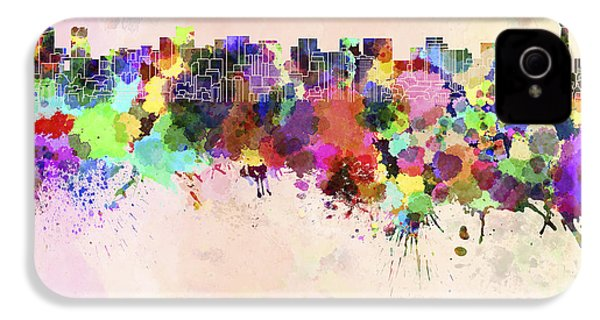 Tokyo Skyline In Watercolor Background IPhone 4 / 4s Case by Pablo Romero
