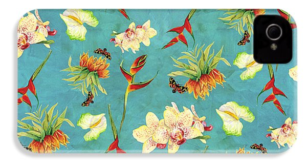 Tropical Island Floral Half Drop Pattern IPhone 4 / 4s Case by Audrey Jeanne Roberts