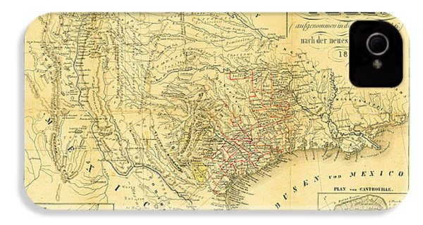 1849 Texas Map IPhone 4 / 4s Case by Bill Cannon