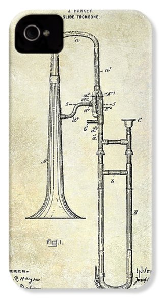 1902 Trombone Patent IPhone 4 / 4s Case by Jon Neidert