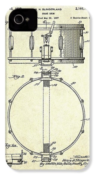 1939 Slingerland Snare Drum Patent S1 IPhone 4 / 4s Case by Gary Bodnar
