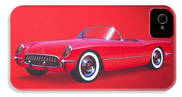 1953 Corvette Classic Vintage Sports Car Automotive Art IPhone 4 / 4s Case by John Samsen